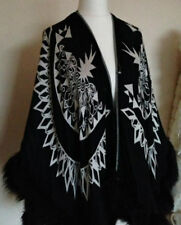 B/NEW RIVER ISLAND BLACK & WHITE FUR SWING COAT JACKET CAPE COMPLETELY SOLD-OUT