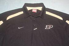 Nike Team Polo Shirt Black Fit Dry Purdue NCAA Football Mens S Small