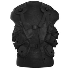 TACTICAL ARMY PATROL LOAD BEARING VEST ADJUSTABLE WEBBING SHOOTING RANGE BLACK