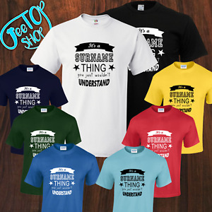 NEW PERSONALIZED SURNAME TOPS, SIZES KIDS 5-15YRS TO ADULT SMALL-2XL, 8 Colors