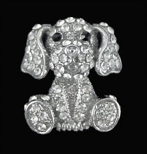 Venetti Silver Colour Puppy Dog Brooch Encrusted With Genuine Crystal Stones