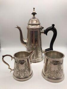 Antique Heavy Quality Silver Plate Art Nouveau Coffee Set, Pot Jug & Sugar Bowl