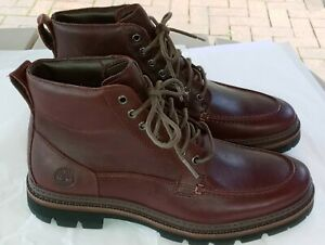 Timberland Mens Port Union Moc-Toe Waterproof Ankle Boot Size 8 Burgundy A28ZZ