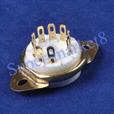 6PCs Gold Ceramic Tube Socket 9Pin Chassis Bottom 12AX7 12AU7 ECC83 6922 6DJ8