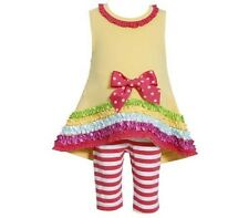 NWT Girl 24m Bonnie Jean Baby DRESSY Yellow Multi Color Hi Low Top Stripe Pants