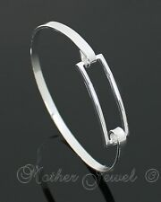 RECTANGLE STERLING SILVER PLATED MENS LADIES BOYS GIRLS CUFF BANGLE BRACELET