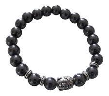 Bracelet motif tête de buddha + perles en hématite noire style shamballa.