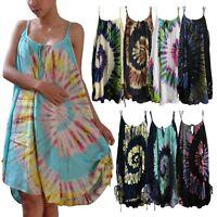 Ladies Tie Dye Double Straps Dress Spiral Sundress Bohemian Peasant Plus Size