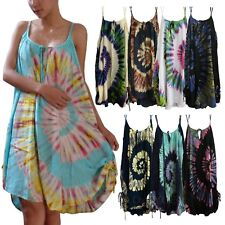 Ladies Tie Dye Double Straps Dress Spiral Sundress Bohemian Peasant Plus Size