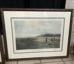 "1894 Douglas Adams ""THE DRIVE"" FRAMED Painting Golf Lithograph Henry Graves"