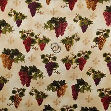 BonEful Fabric FQ Cotton Quilt Tan Fleur De Lis US Vineyard Grape Maroon Blender