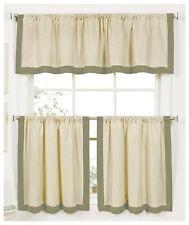 Elrene 3pc Kitchen Curtains Set Tiers + Valance Green & Cream NEW