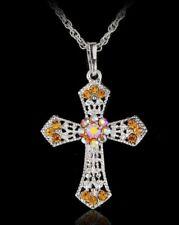 Kreuz Anhänger Kristall Strass Schmuck GELB Halskette - Gratis  N94