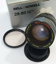 Bell & Howell 28-80mm f3.5-4.5 M/MD Macro Lens, Filter & Caps - Boxed, Excellent