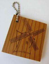 """Limited Edition Souvenir Wood Key Chain Keychain 2"""" Dutch Windmill Fulton, IL 2"""""""