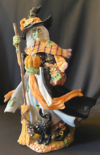 """Fitz & Floyd Classics Halloween Harvest 18"""" Witch Figurine Broomstick With Box"""