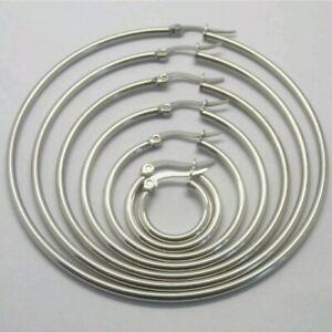 1 Pair Silver Stainless Steel Hinged Hoop Earrings 5.5cm 55mm