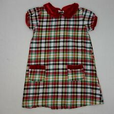 Mud Pie Girls Size 5T Dress Red Plaid Short Sleeve Cotton EUC