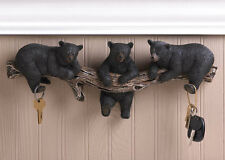 Wild Black Bear Key Hook Holder Wall Sculpture Cabin Lodge Hunter Country Decor