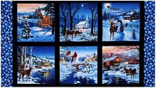 .6 Yard Cotton Fabric - Elizabeth's Studio Country Christmas Scenic Panel
