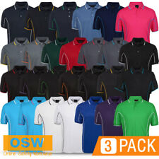 3 X Mens Casual S/S Cool Dry Work Office Tradies Trade Piping Style Polo Shirts