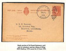 AG276 1956 GB USED ABROAD USA KGVI Reply Card *Albany & Bing* TPO RAILWAY Duplex