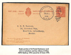 AG276 1956 GB USED ABROAD USA KGVI Reply Card *Albany & Bing* TPO RAILWAY Duplex
