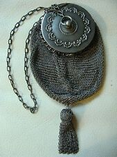Antique Victorian Art Nouveau Floral Silver T Mirror Ball Tassel Mesh Purse #62