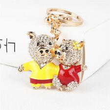 Lovely Double Lover Pig Flower Pendant Crystal Purse Bag Keychain Wedding Gift