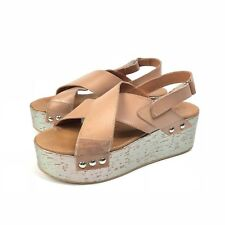 40dba2d639 Sixtyseven Nira Tan Leather Platform Crossover Sandals Silver Cork Size 41