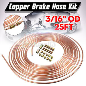 25ft Copper Brake Pipe Hose Kit 10 Male & 10 Female Nuts Joiner Joint 3/16 Union