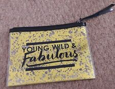 h&m make up bag gold black cosmetic bag young wild fabulous quote
