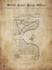 Antique grand piano STEINWAY : old documents 1859 -1872 - for poster / print