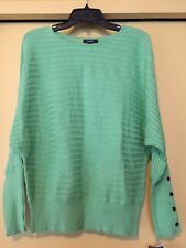 NEW Alfani Woman Lime Green Striped Sweater, Dolman Sleeves, Size Med., NWT $65