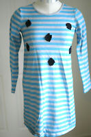 Hanna Andersson Girls Dress Striped Blue Flowers Long Sleeve Cotton Size 140 10