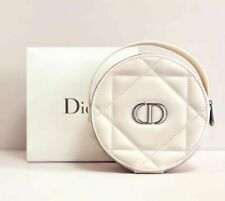 Christian Dior round PU leather Jewellery Make Up vanity Purse ideal xmas gift
