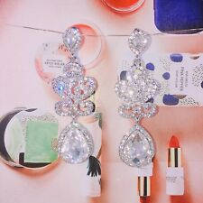 Rhodium Sliver plated Rhinestone Clear Crystal Water Drop Wedding Earrings