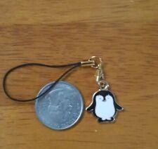Bn Penguin Enamel Cell Phone Charm Strap Lariat -