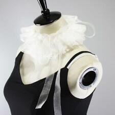 White Ruffles Lace Rim Fake Collar Detachable Necklace Choker with Strap Decor W
