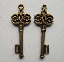 10pcs bronze plated  key charm pendant 40x17 mm