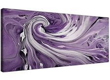 Purple and White Spiral Swirl - Modern Abstract Canvas - 120cm Wide - 1270