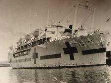 USS Haven military hospital ship~2 snapshot real photos~1950's~Long Beach,CA~