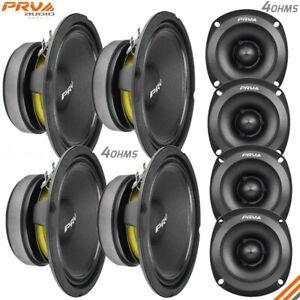 """4x PRV 6.5"""" Midbass Speakers 6MB200-4 v2 + 4x Shallow Tweeters TW350Ti-4 SLIM"""