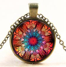 Vintage Mandala Flower Photo Cabochon Glass Bronze Chain Pendant Necklace#CJ37