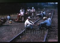 1960s photo slide Workers resting on railroad train tracks   Oregon ?? #2
