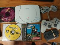 Playstation PS One PS1 Slim Console Lot W/ Controller, memory card, & 3 Games