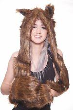Nature Hoodie   Brown Bear Spirit Animal Fur Hoodie w/ Scarf and Mittens