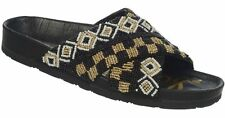 Sam Edelman Arley beaded crisscross strap sandals Slip on Black White 9 M Open T