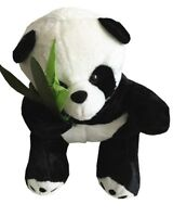 """New 10.5"""" Cute Black and White Panda With Bamboo Flush Stuffed Toy For Kids"""