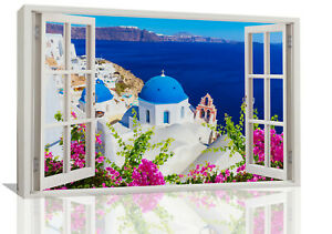 Santorini Greece Landscape Through a Window Canvas Wall Art Print Picture